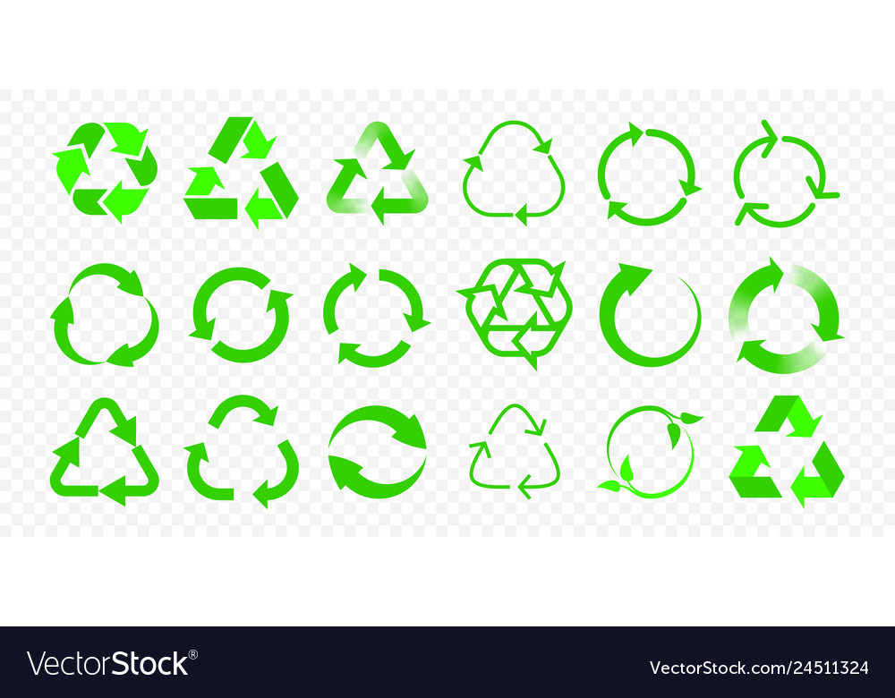 Recycle icons reuse eco arrow and bio garbage