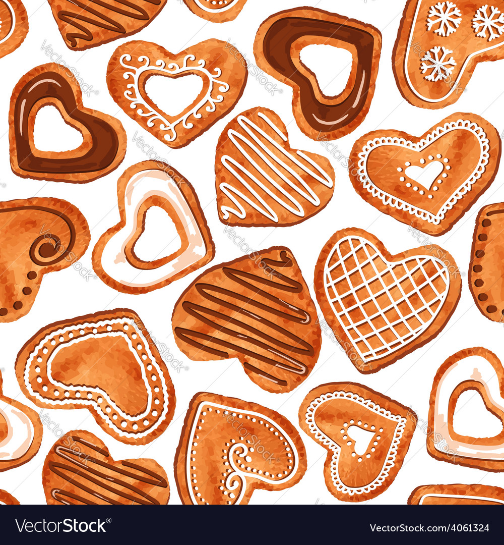 Seamless pattern of watercolor heart cookies