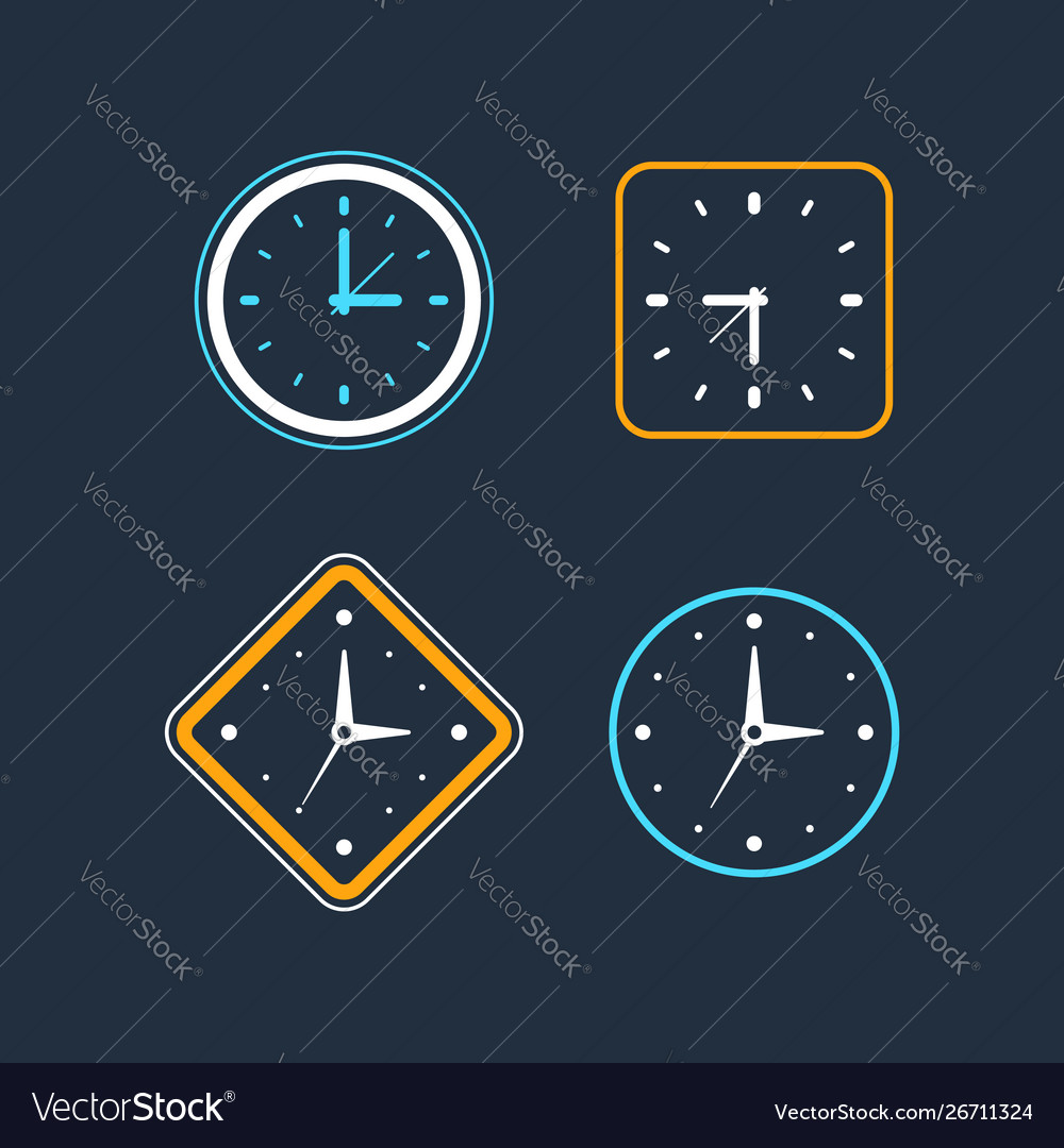 Set clock icon flat design element
