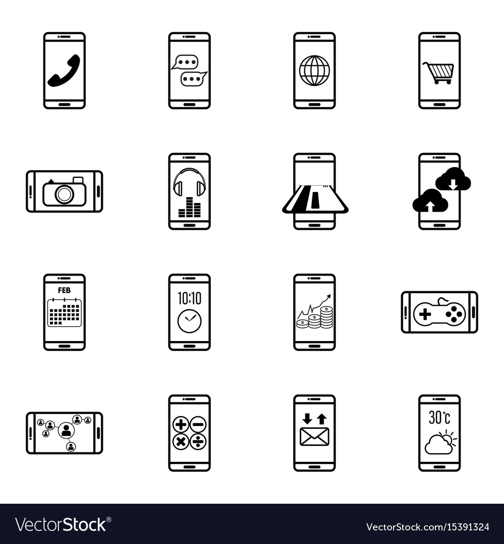 Set of mobile function line icon