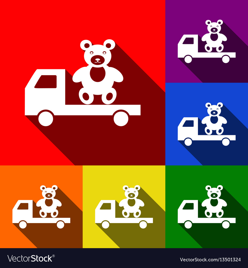 Truck with bear set of icons with flat