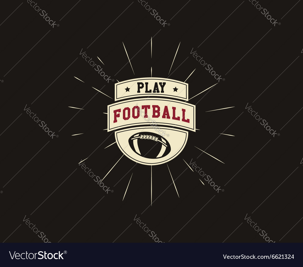 Vintage american football and rugby label emblem