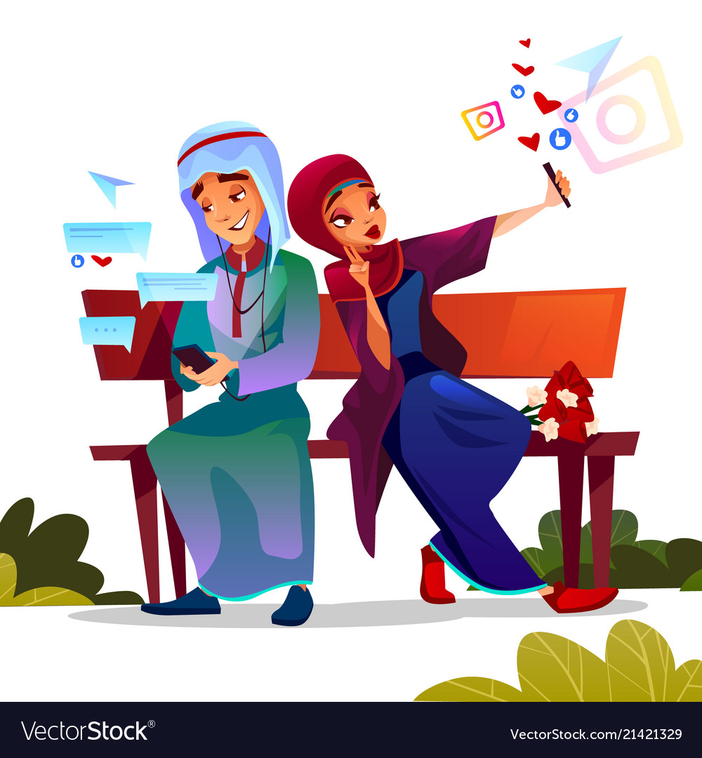 Arabian couple dating with smartphones