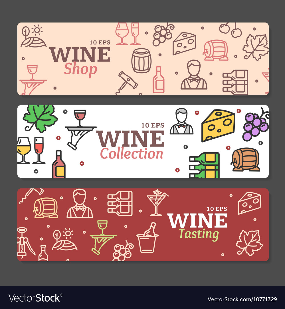 Art Wine Banners and Labels Set