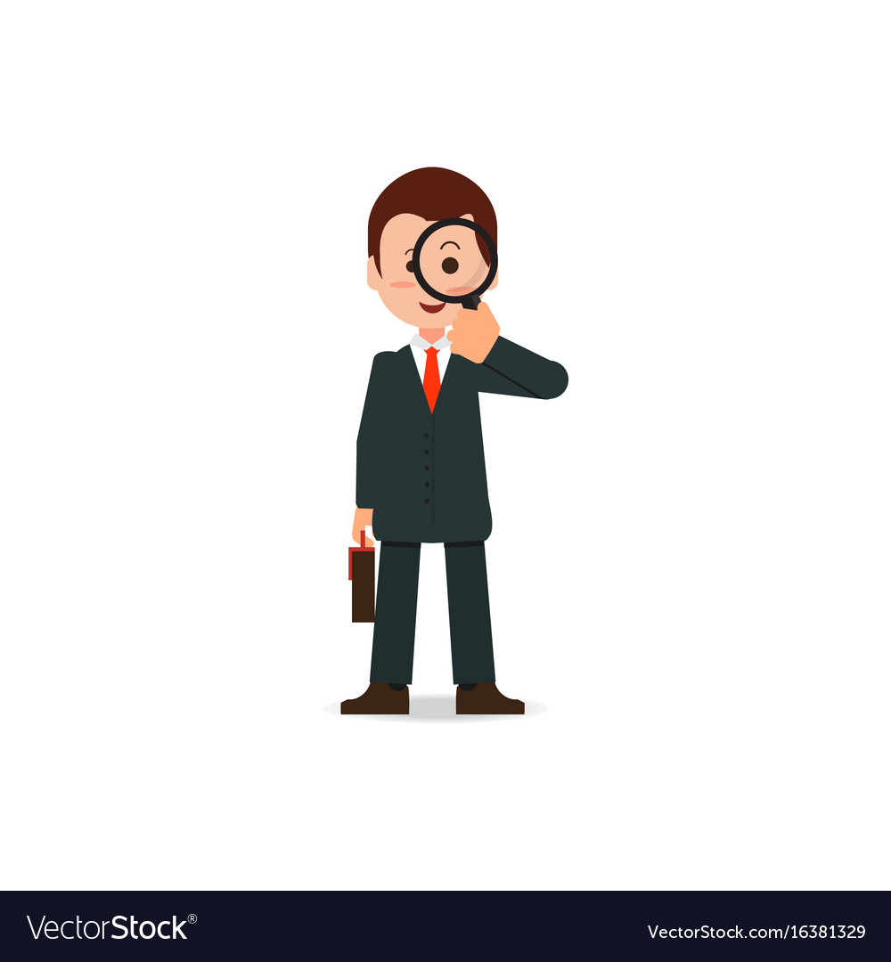 Businessman looking through a magnifying glass vector image