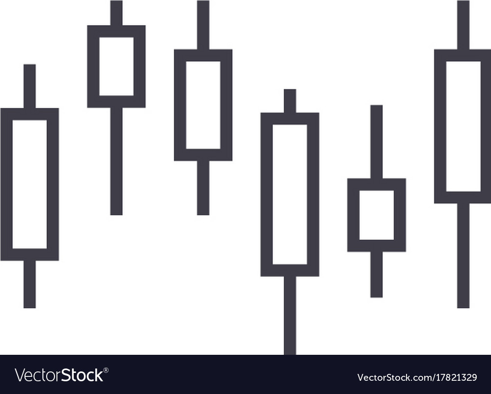 Candlestick chart line icon sign
