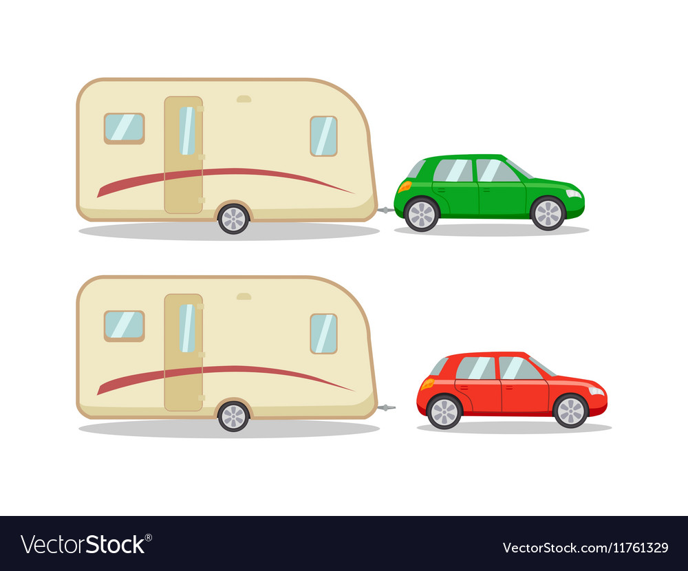 Car with the house on wheels trailer