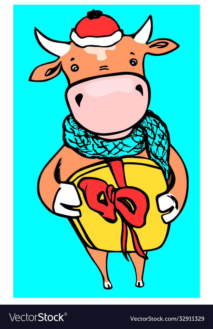Cheerful cow as symbol 2021 with a present pack