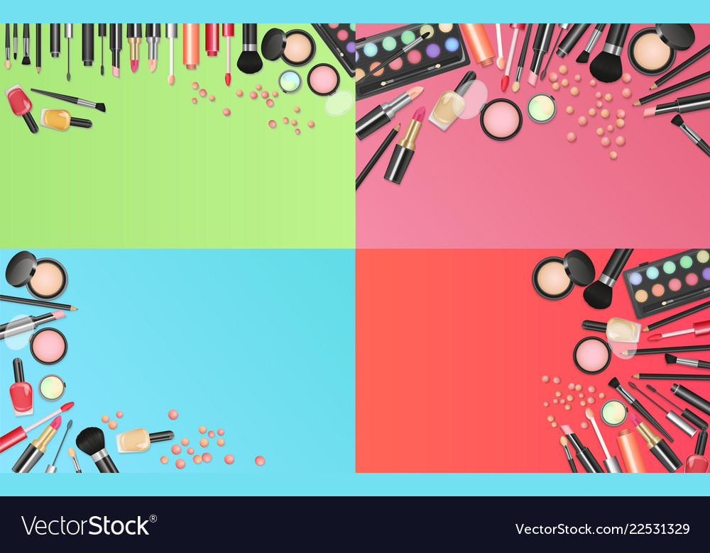 Cosmetics fashion background with make up artist