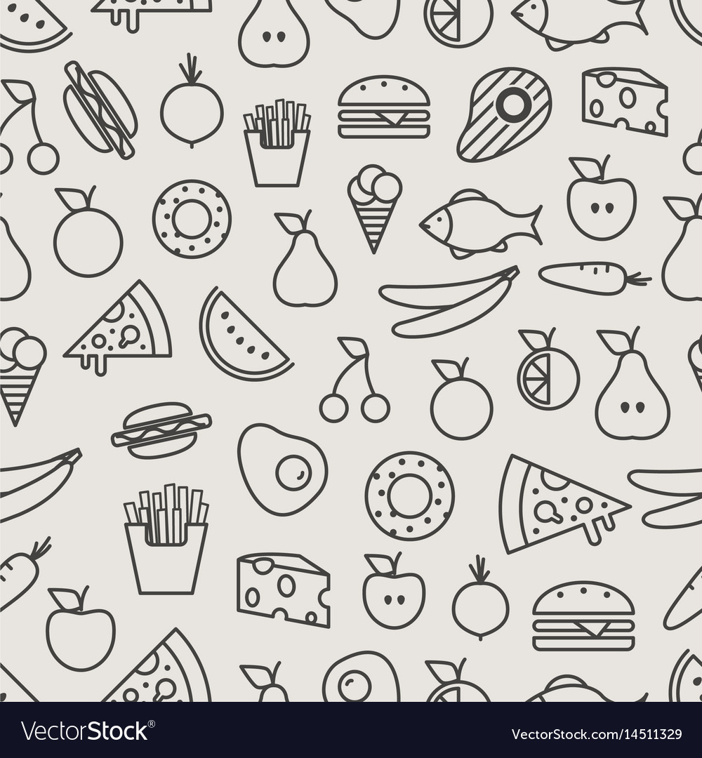 Different food silhouette icons seamless pattern vector image