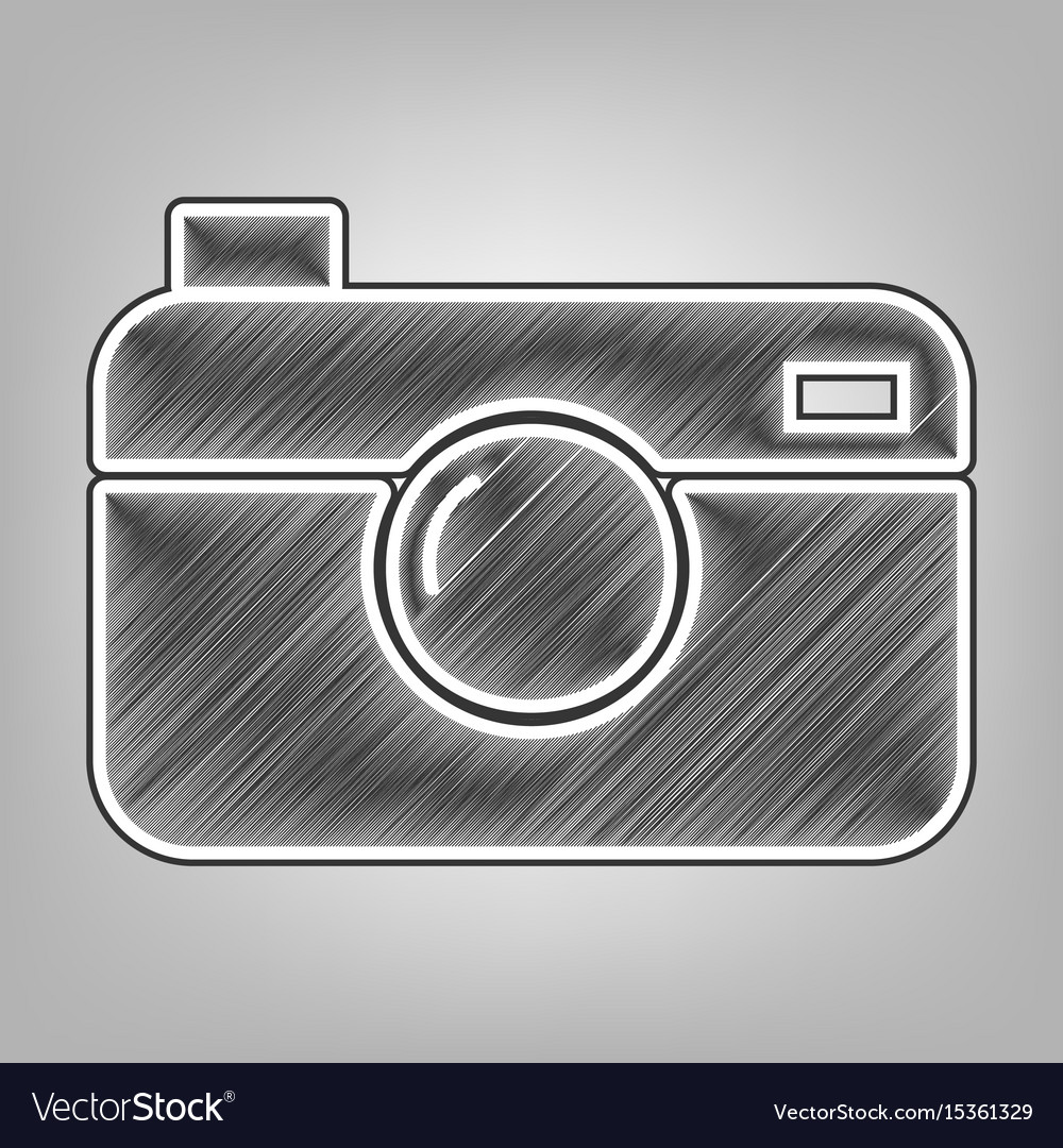 Digital photo camera sign pencil sketch vector image