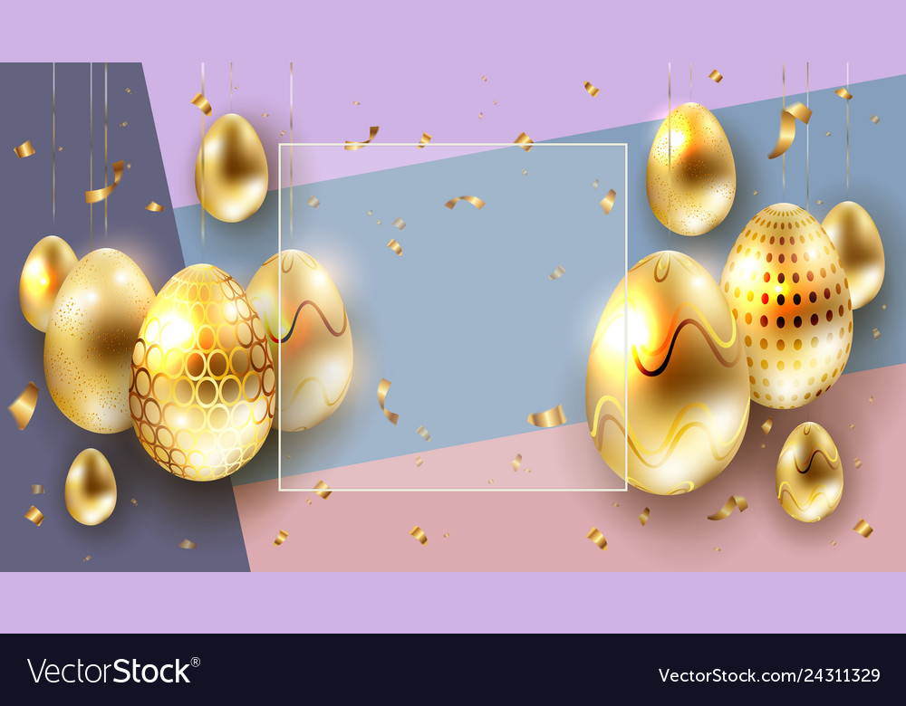 Easter multicolor composition with golden eggs on