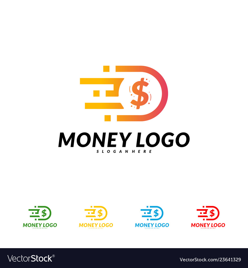 Fast money logo design concept fast coin logo