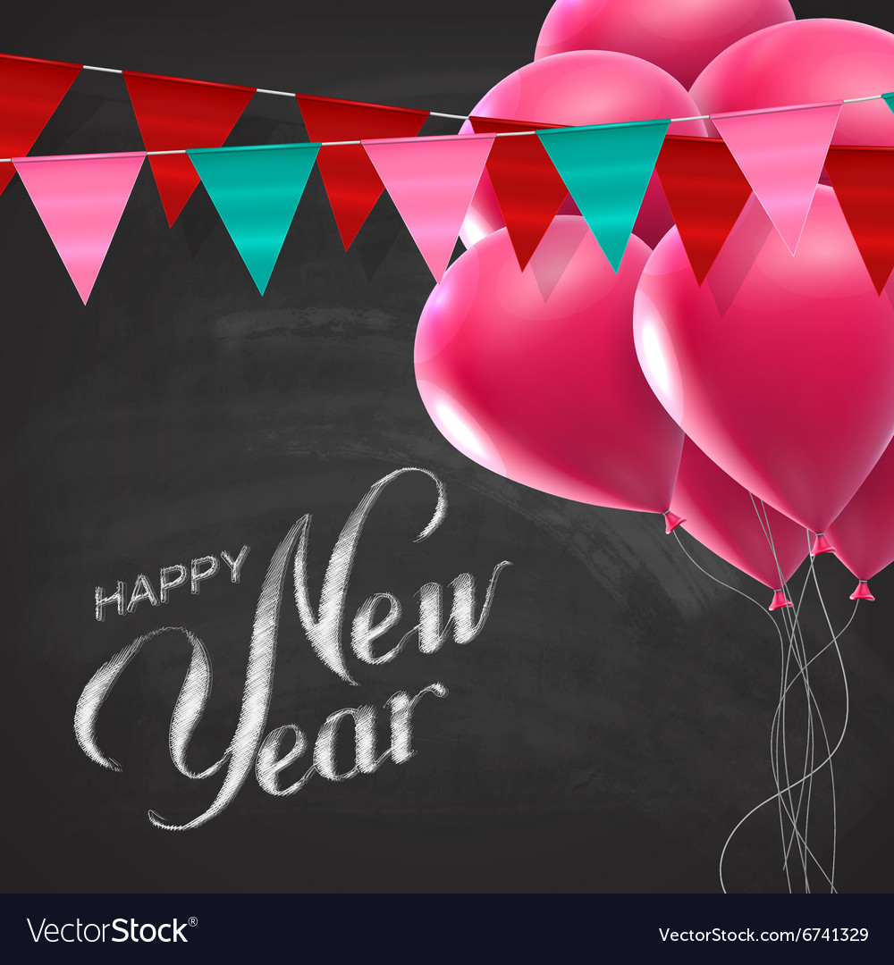 Happy New Year Lettering Chalk Composition