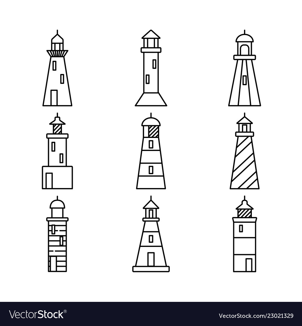 Lighthouse icons set in thin line style