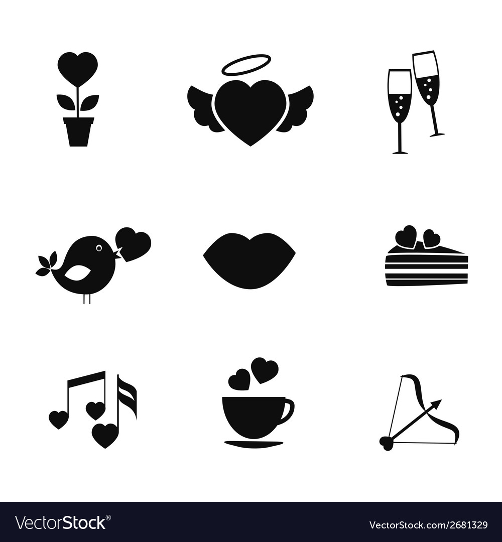 Set of love and romance icons