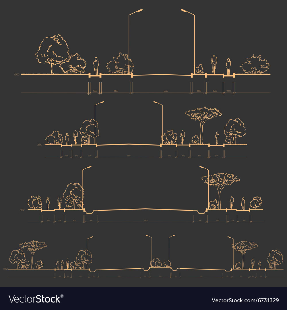 Set of road cross-sections vector image