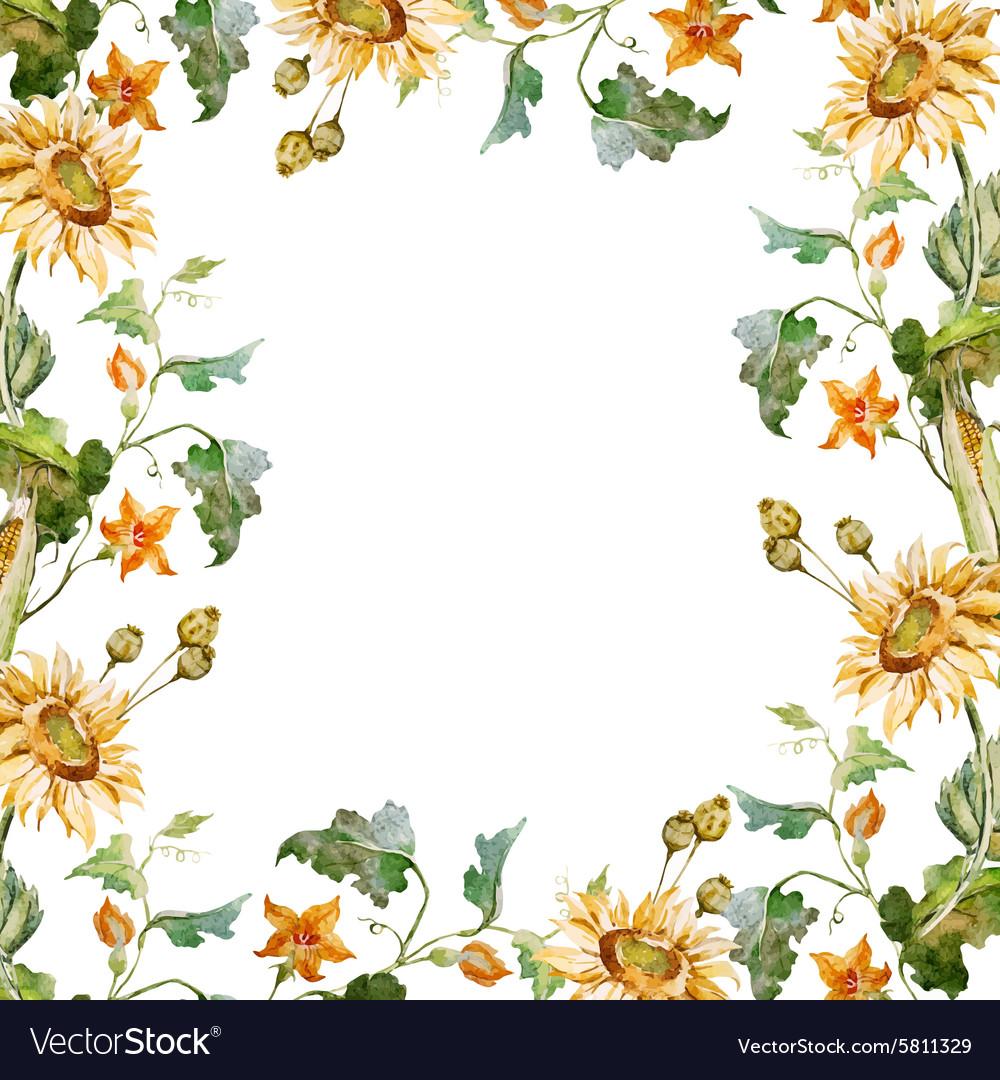 Sunflower frame Royalty Free Vector Image - VectorStock