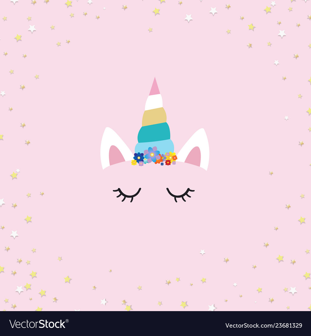 Unicorn face with pink background