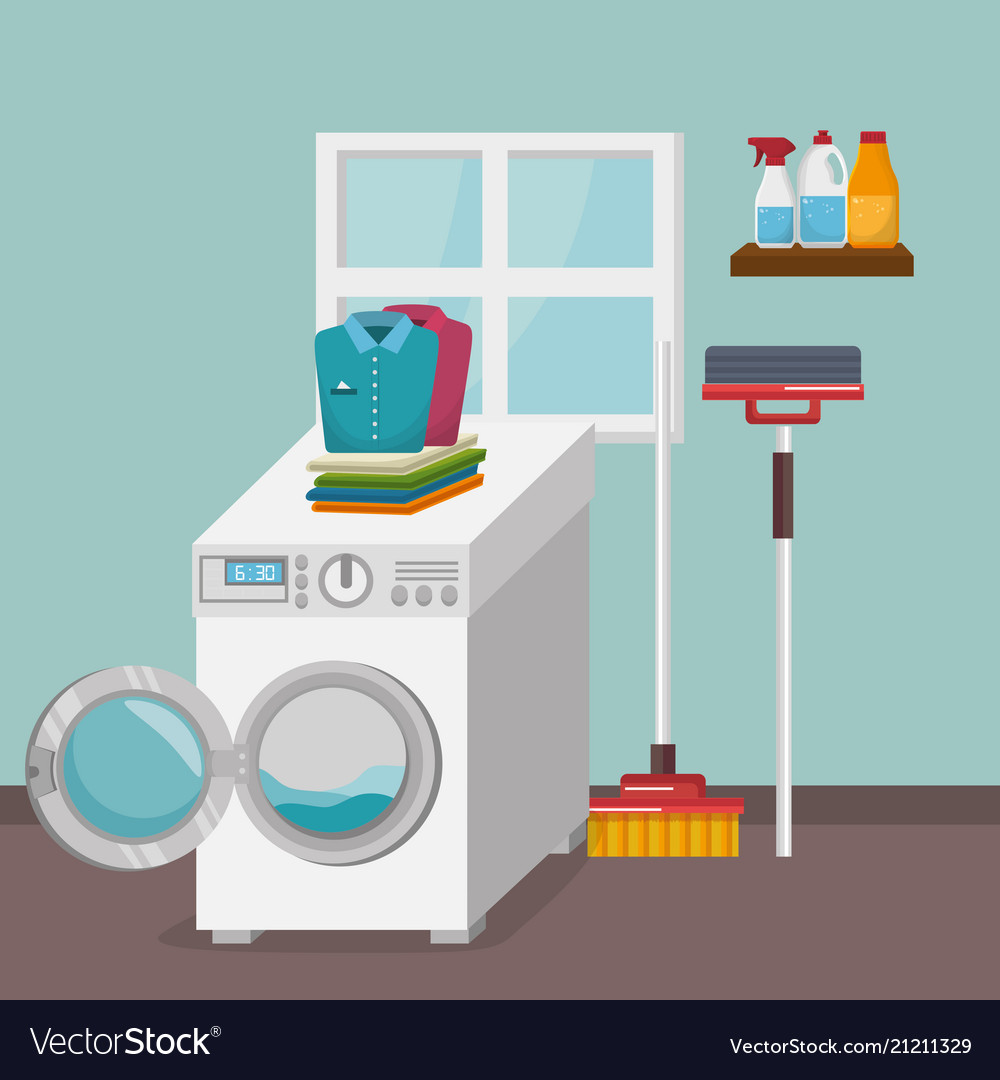 Wash machine with laundry service icons