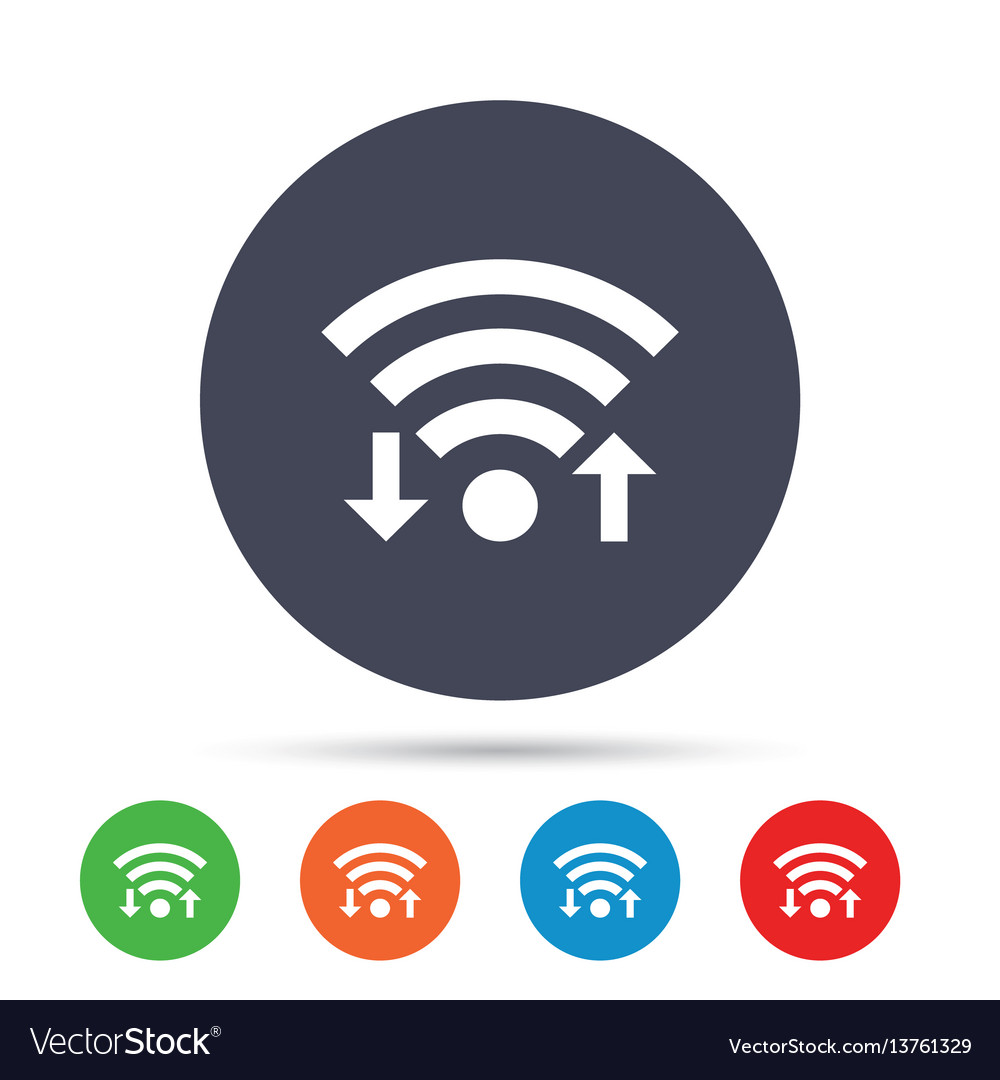 Wifi signal sign wi-fi upload download symbol vector image
