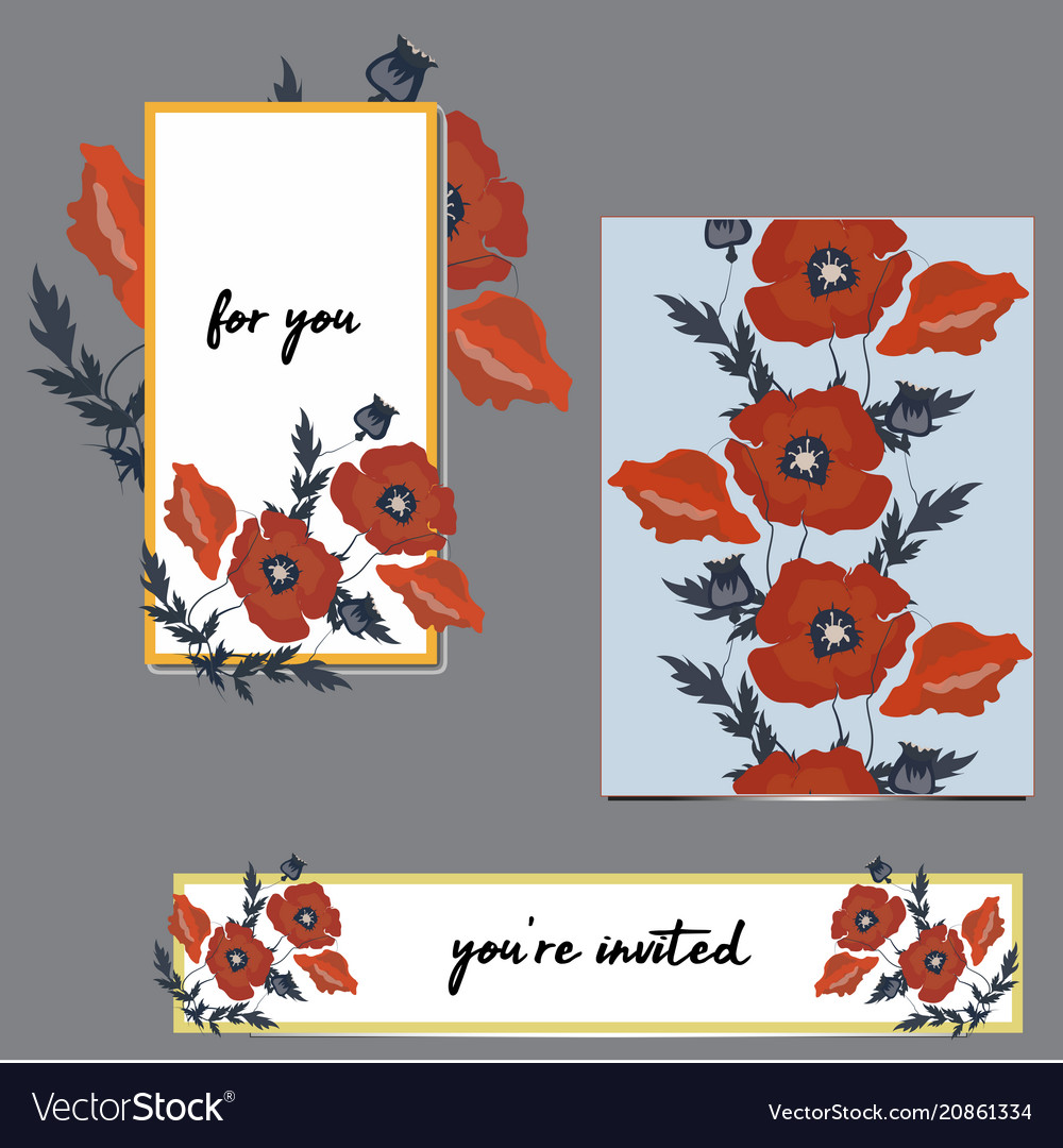 Abstract flowers poppies isolated hand drawn