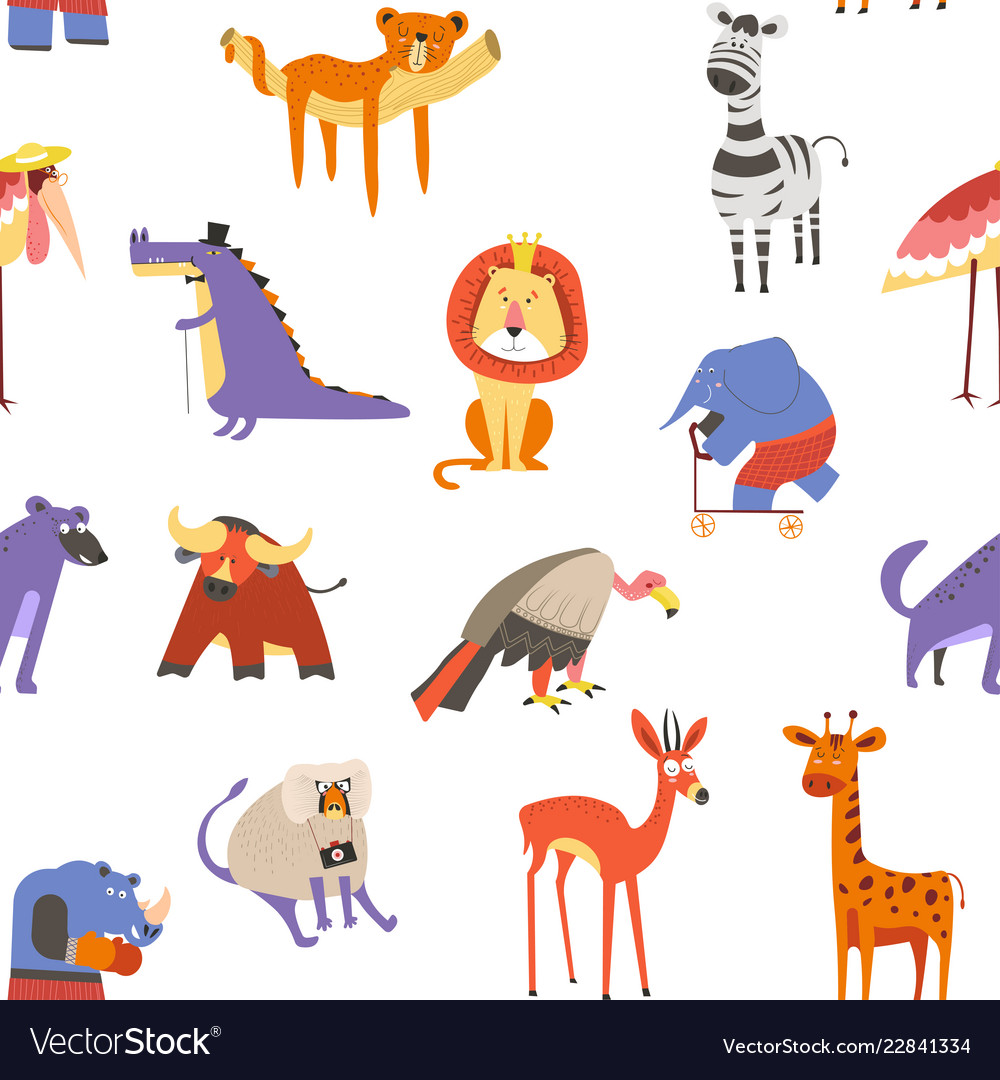 Animals seamless pattern lion and zebra macaque