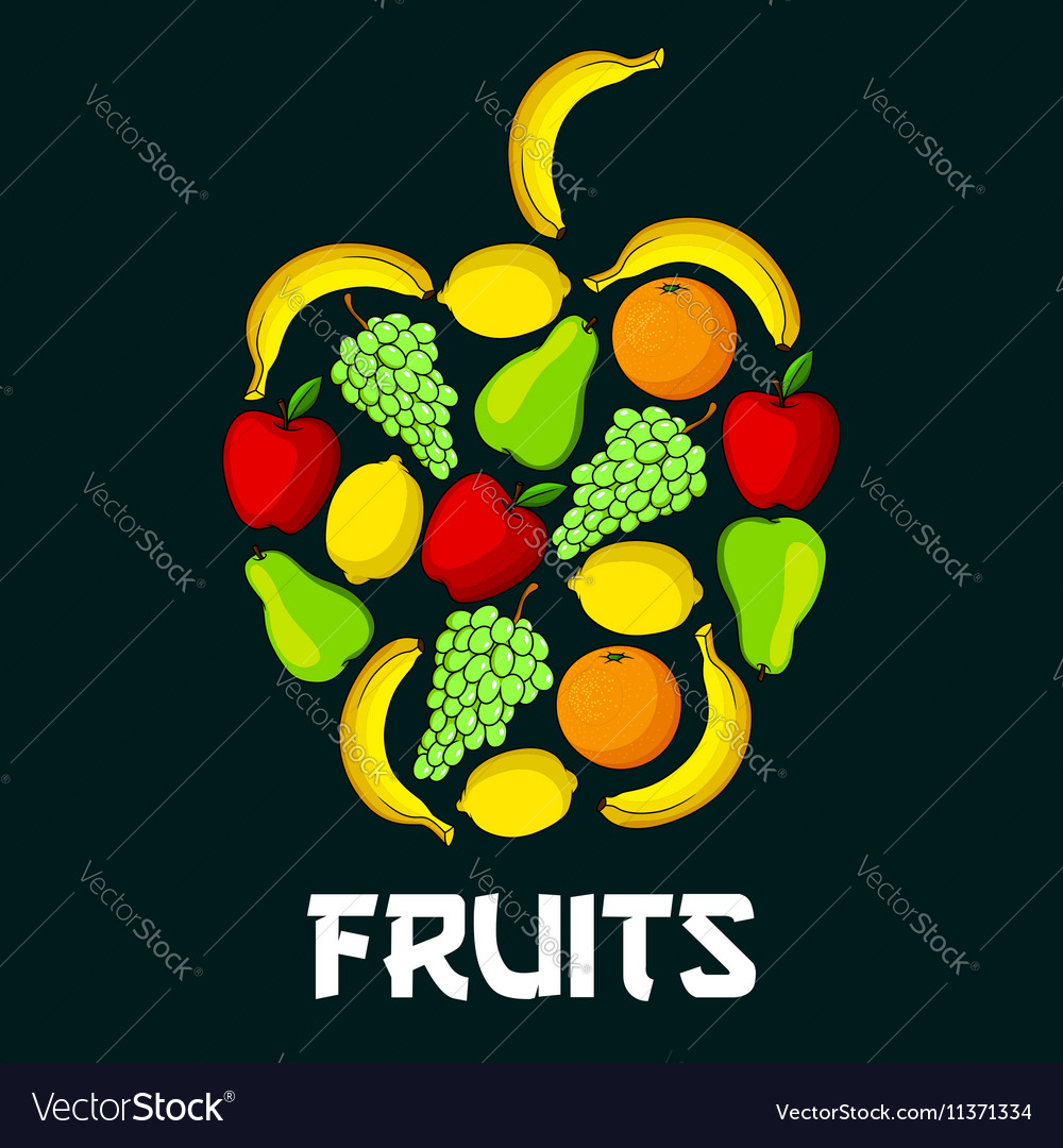 Apple fruit shape with fruits icons vector image