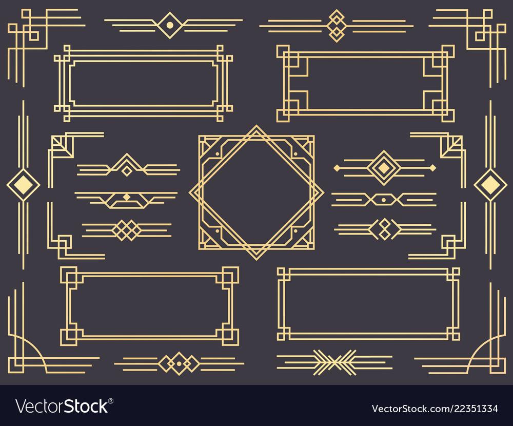 Art Deco Line Border Modern Arabic Gold Frames