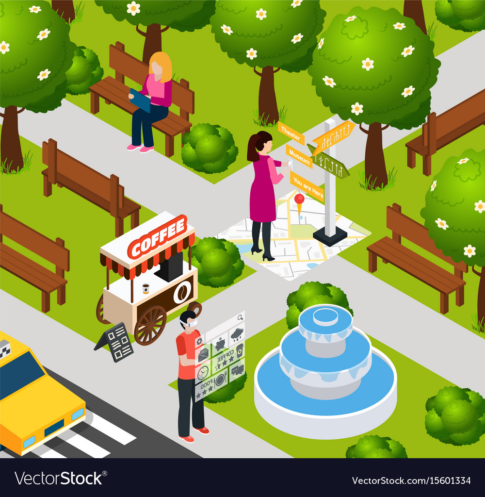 Augmented reality park composition Royalty Free Vector Image