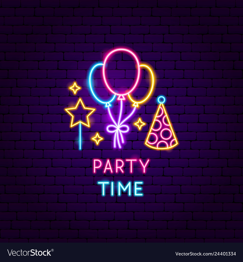 Party time neon label vector
