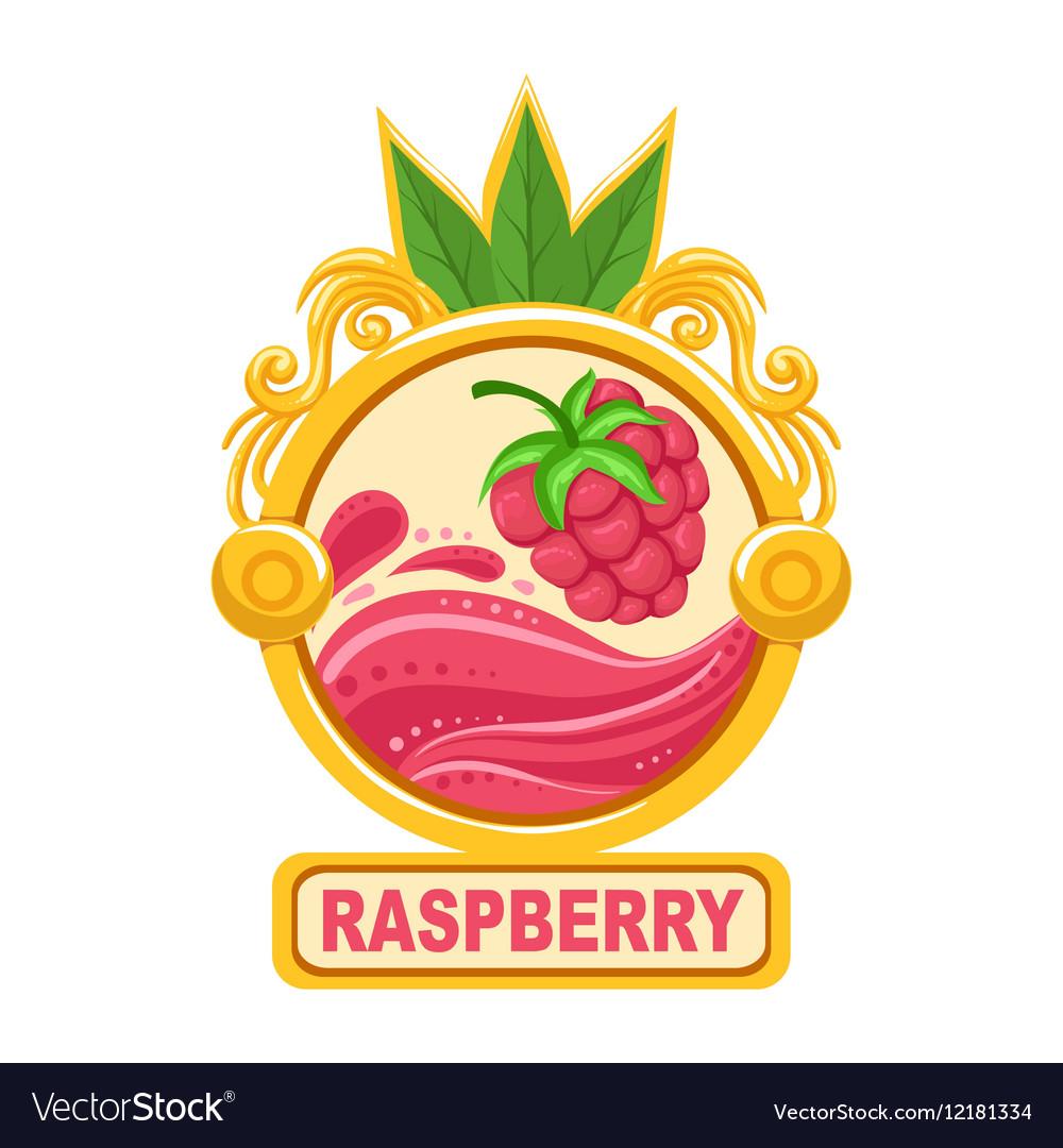 Raspberry Bright Color Jam Label Sticker Template Vector Image