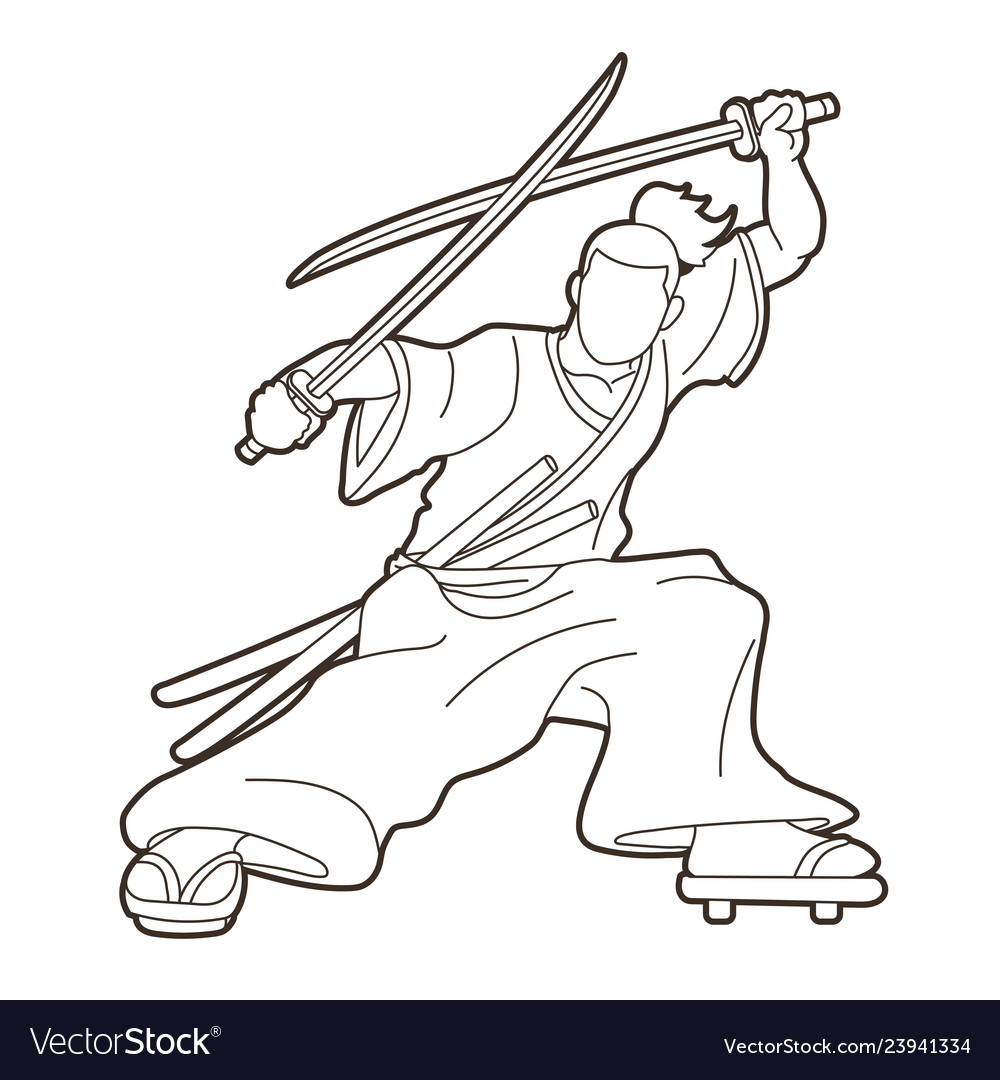 Samurai standing ready to fight with swords