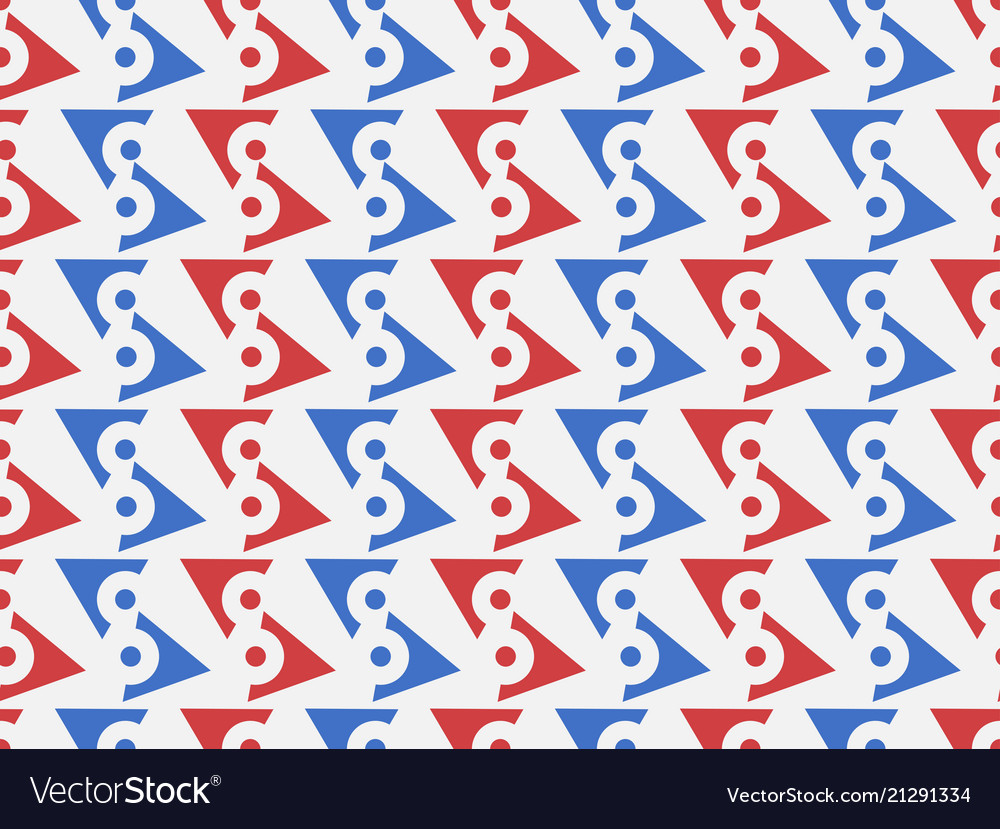 Seamless geometric pattern blue and red color