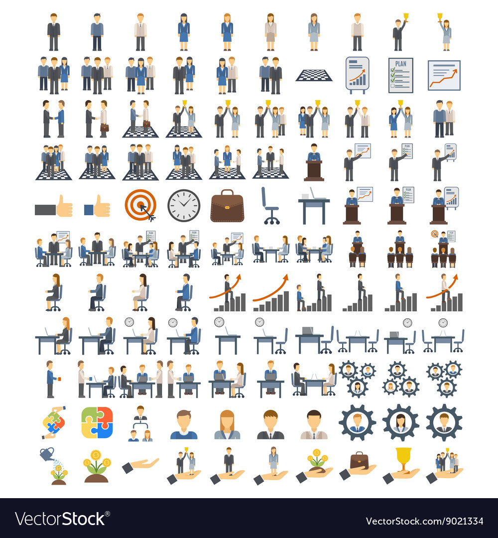 Teamwork icons vector image