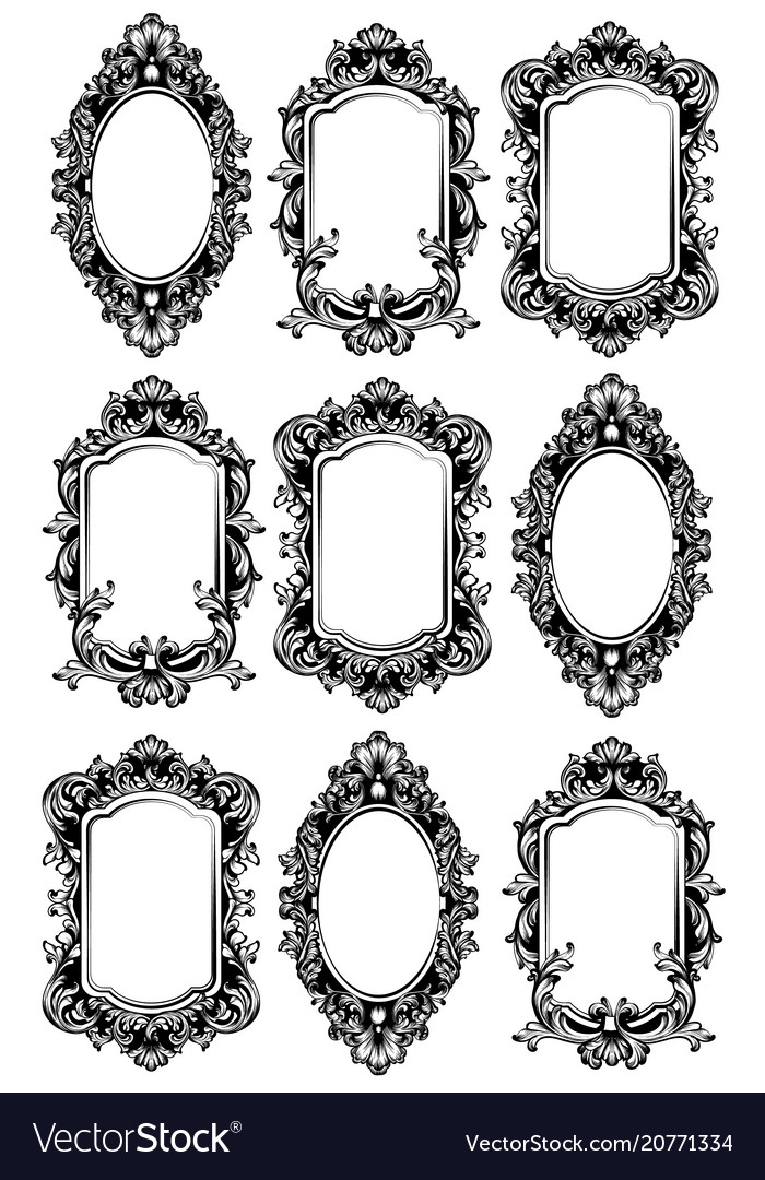 Vintage Mirror Frames Set Collection Of Vector Image