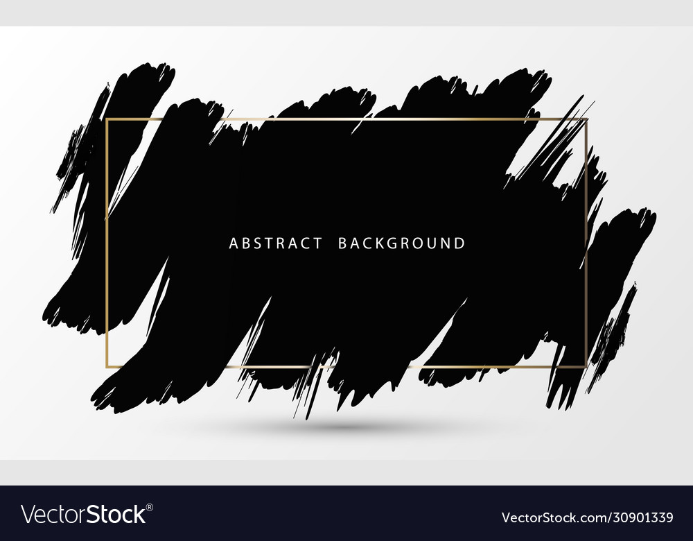 Abstract black ink brush stroke with gold frame