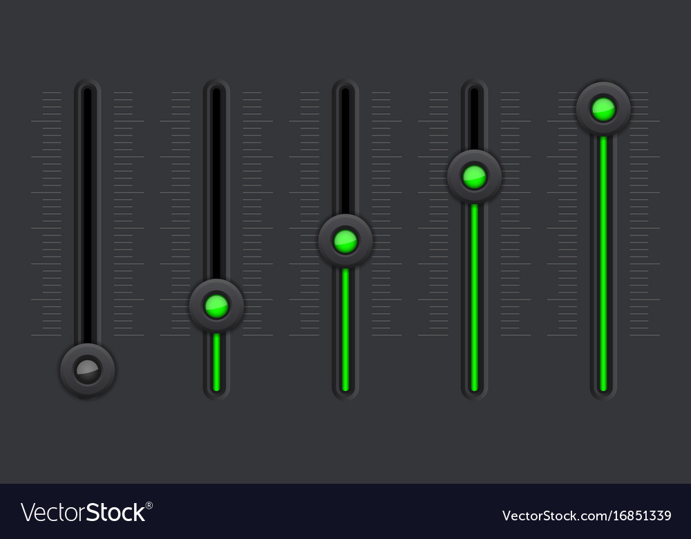 Black equalizer with green slider buttons vector image