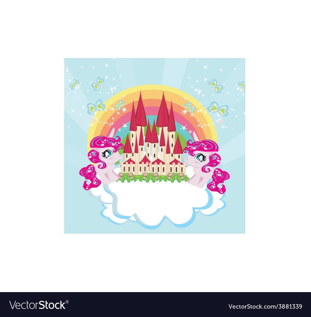 Card with a cute unicorns rainbow and fairy-tale vector image