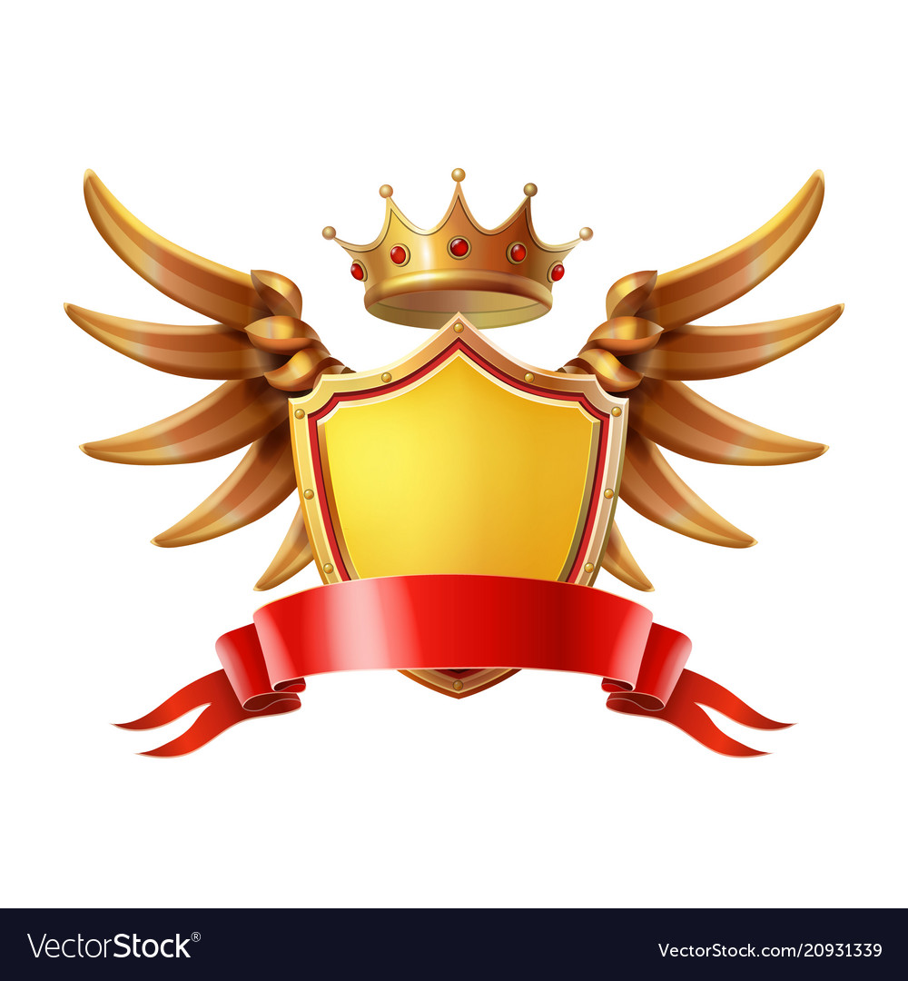Coat of arms golden crown shield wings
