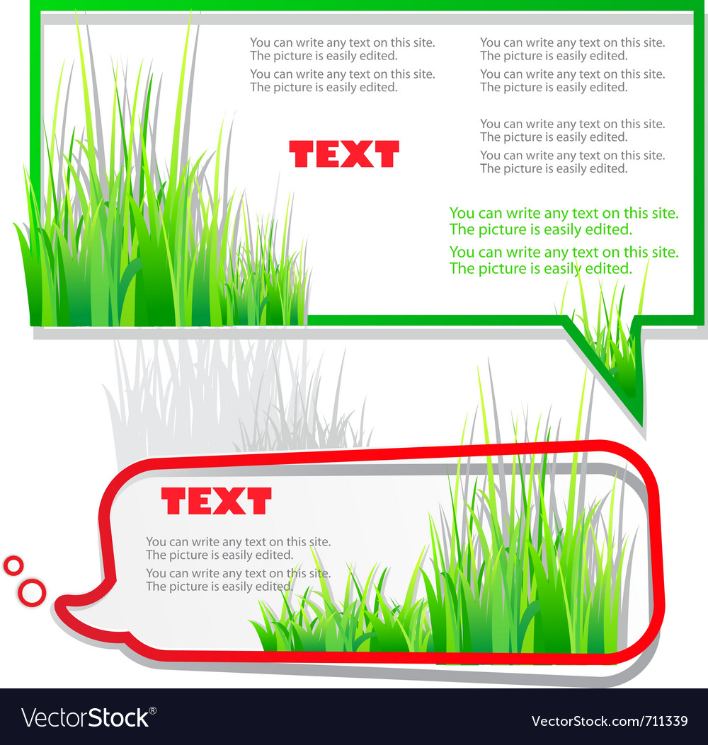 Colorful stickers for speech green grass natural b