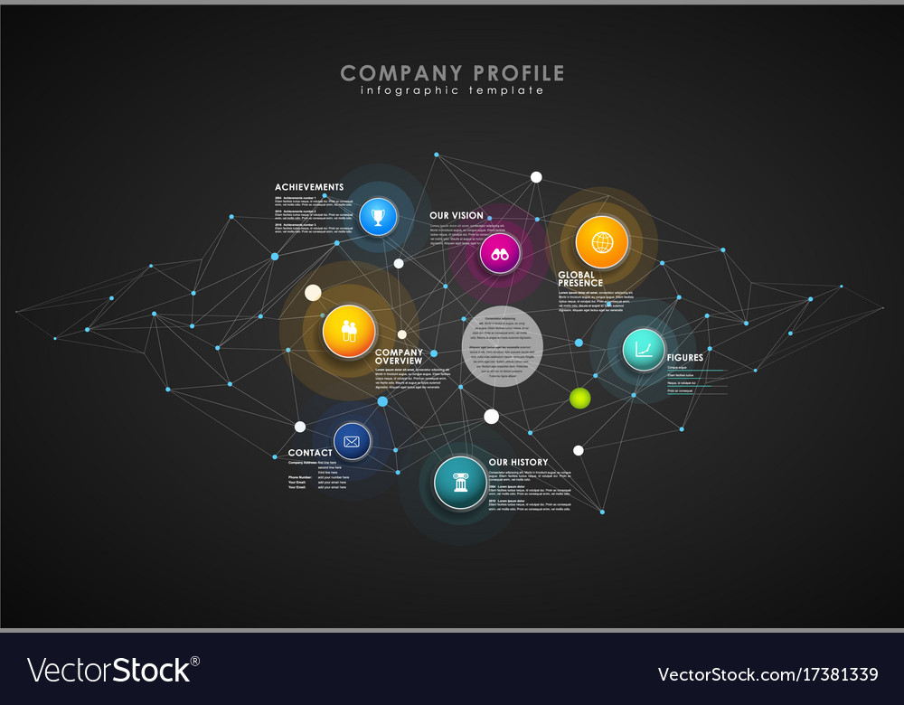 Company profile overview template with colorful