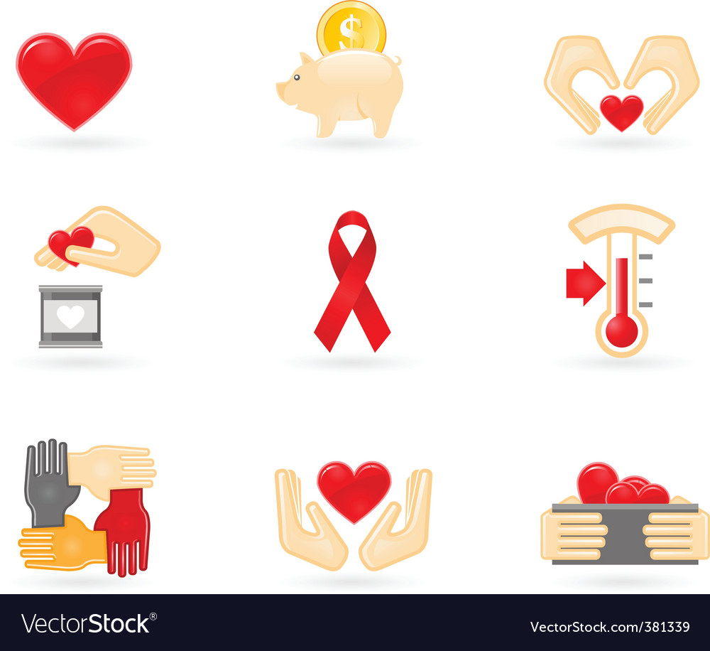 Donation and charity icons vector image