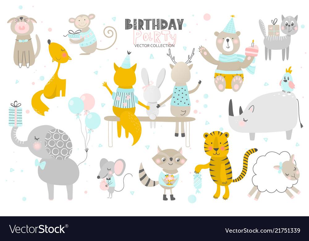 Happy birthdaycute animals hand drawn style
