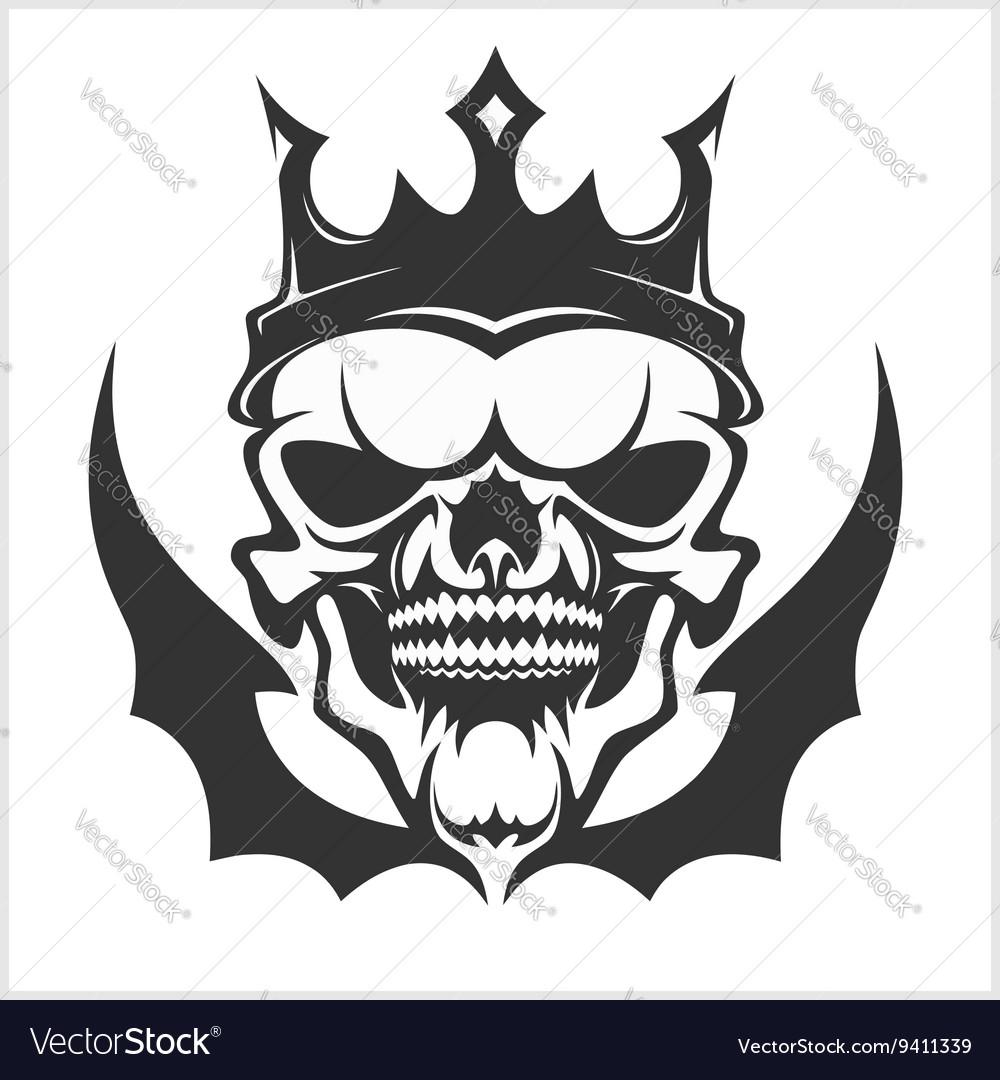 King skull wearing crown