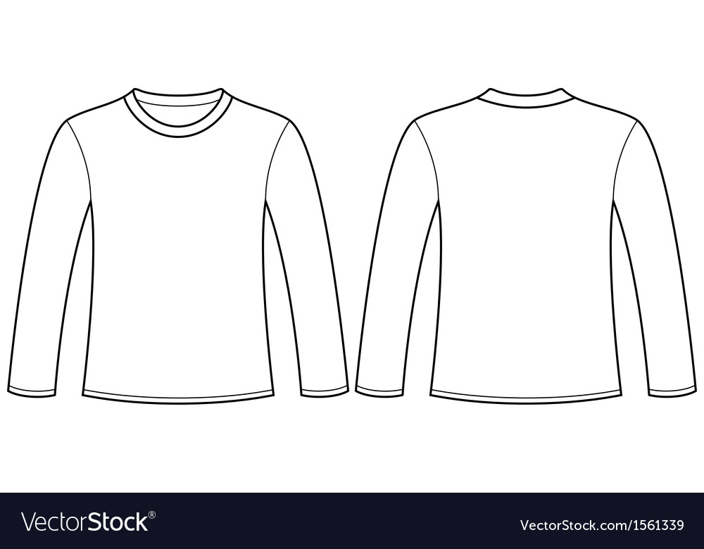 Long-sleeved T-shirt template Royalty Free Vector Image