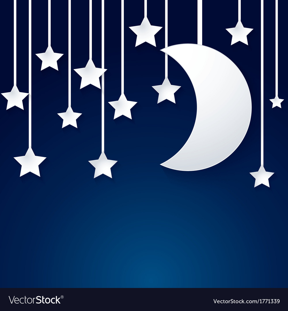 Moon and star paper vector image