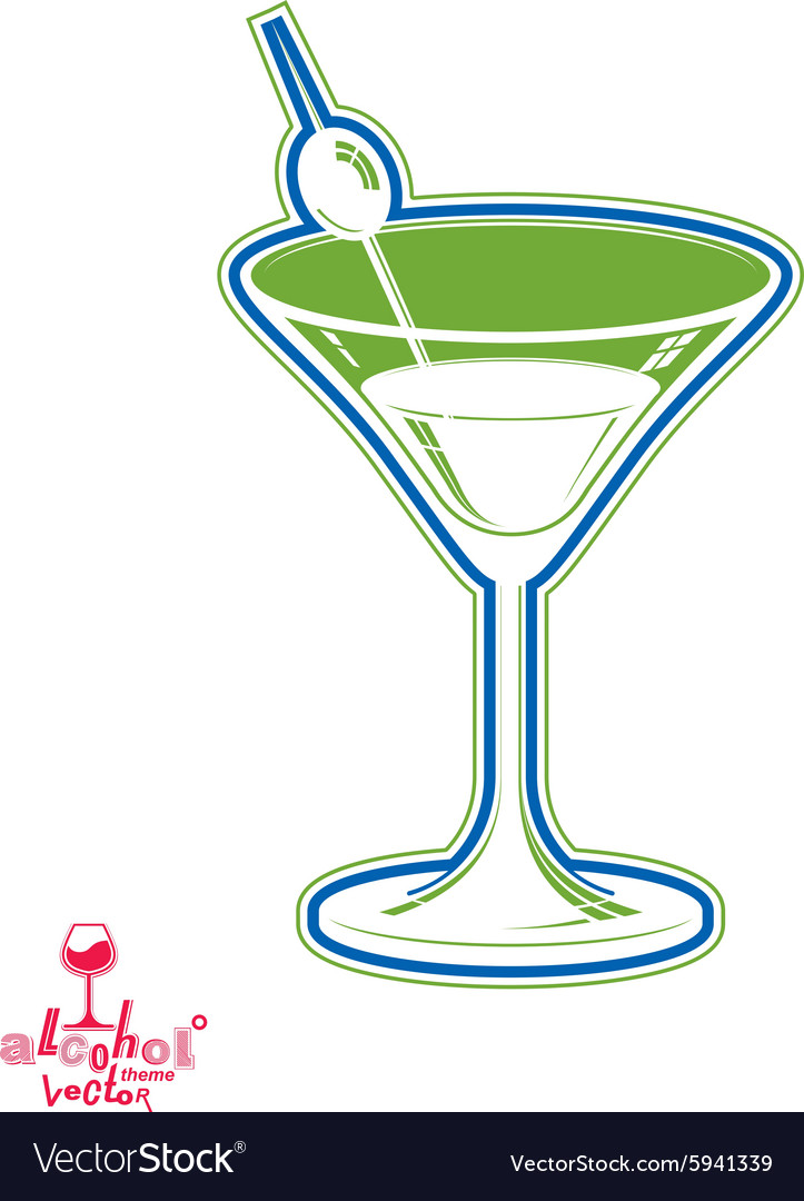 Realistic 3d Martini Glass With Olive Berry Vector Image