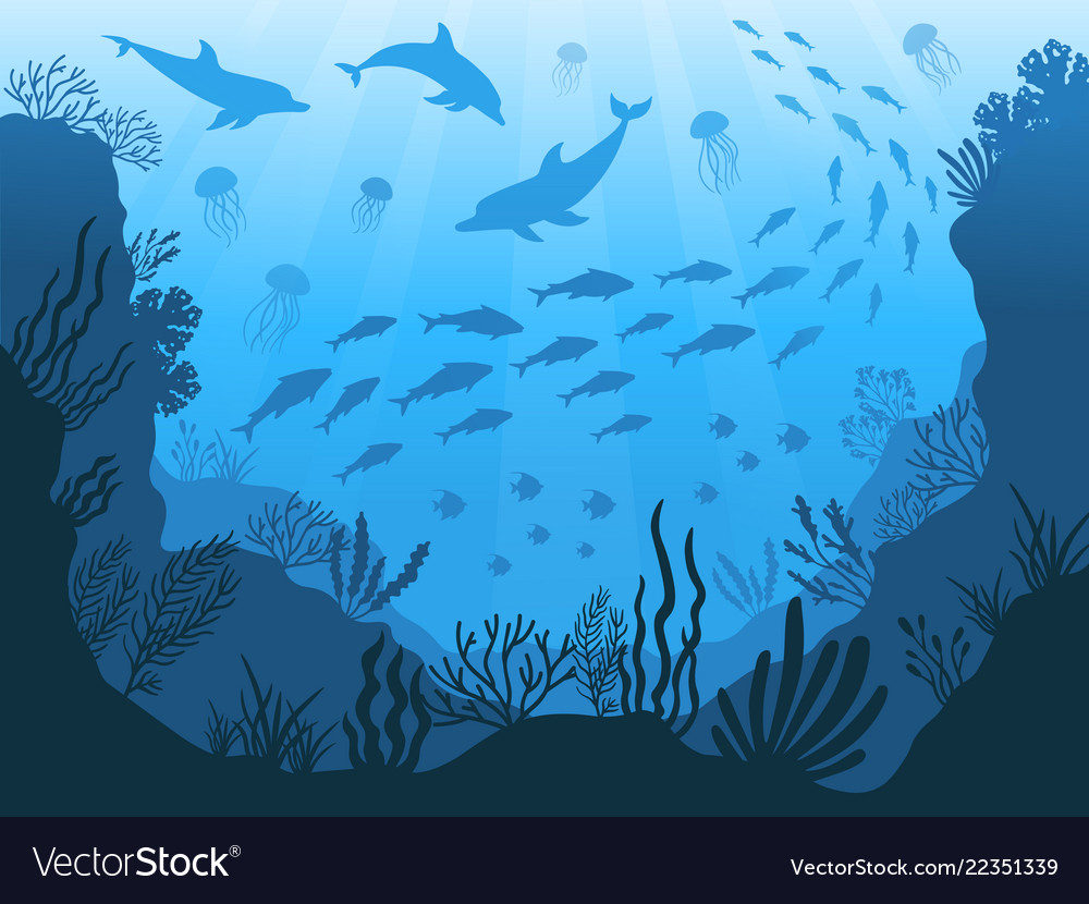 Underwater ocean fauna deep sea plants fishes