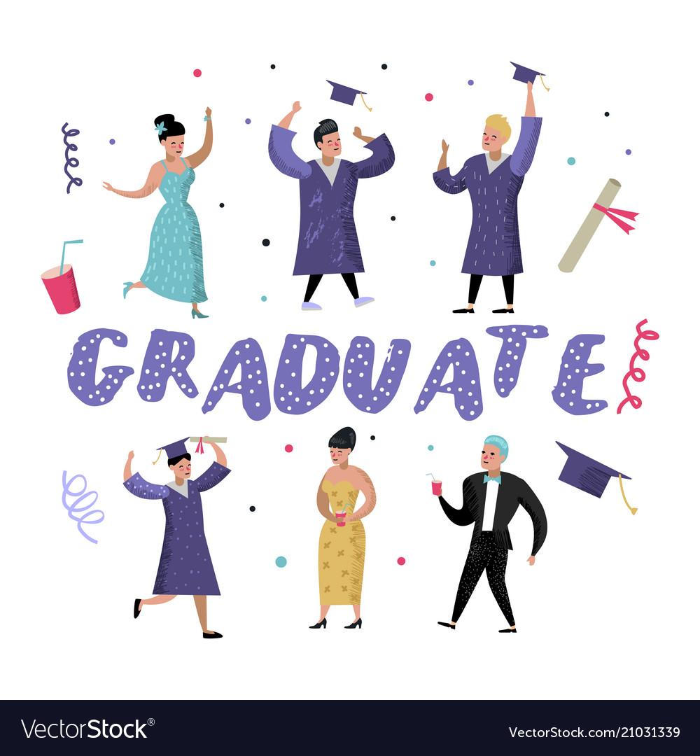 University graduate happy students graduation